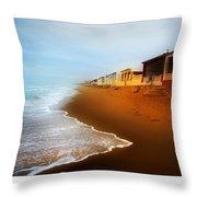 Spanish Beach Chalets Throw Pillow
