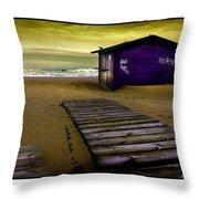 Spanish Beach Hut Throw Pillow