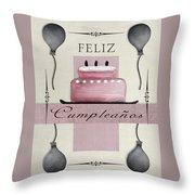 Spanish Birthday Greeting Card Throw Pillow