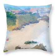 Spanish Coastline Waterline  Throw Pillow