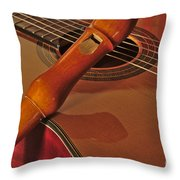 Spanish Guitar And Flute Throw Pillow
