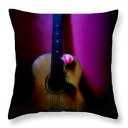 Spanish Guitar And Pink Rose Throw Pillow