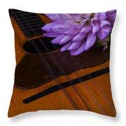 Spanish Mandolin And Dahlia Throw Pillow