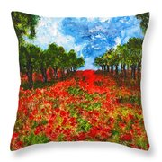 Spanish Poppies Throw Pillow