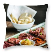 Spanish Smoked Meats Ham And Cheese Platter Starter Dish Throw Pillow