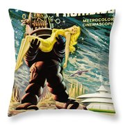 Spanish Version Of Forbidden Planet In Cinemascope Retro Classic Movie Poster Throw Pillow