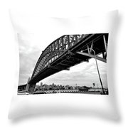 Spanning Sydney Harbour - Black And White Throw Pillow