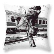 Sparkle At The Train Station - Ballpoint Pen Art Throw Pillow
