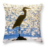 Sparkling Egret Throw Pillow