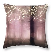 Sparkling Fantasy Fairytale Trees Nature Pink Woodlands - Sparkling Lights Bokeh Fantasy Trees Throw Pillow