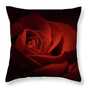 Sparkling Red Rose Throw Pillow