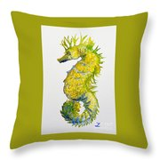 Sparkling Seahorse Throw Pillow