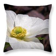 Sparkling White Anemone Throw Pillow