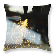 Sparks From Cutting Metal Throw Pillow