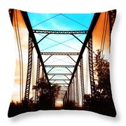 Sparksville Bridge Throw Pillow