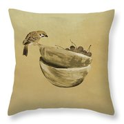 Sparrow And Bowl Of Cherries Throw Pillow