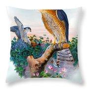 Sparrow Hawk Antique Bird Print Joseph Wolf Birds Of Great Britain  Throw Pillow