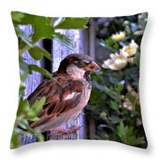 Sparrow In The Shrubs Throw Pillow