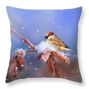 Sparrow In Winter Throw Pillow