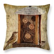 Sparrow On The Feeder Throw Pillow