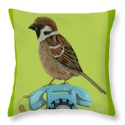 Sparrow Perched On Vintage Telephone Throw Pillow