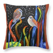 Sparrows Inspired By Chihuly Throw Pillow