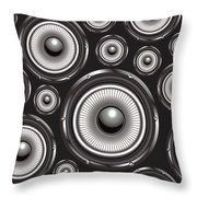 Speakers Over Black Throw Pillow