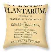 Species Plantarum, Linnaeus, 1753 Throw Pillow