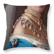 Historical Fashion, Royal Jewels On Empress Of Russia, Detail Throw Pillow