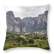 Spectacular Meteora Rock Formations Throw Pillow