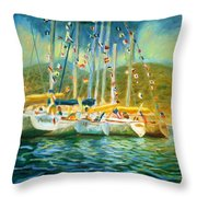 Spectator Boats At A Race Throw Pillow