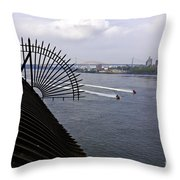 Speed Boats On The East River Throw Pillow