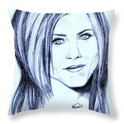 Speed Drawing Of Jennifer Aniston  Throw Pillow