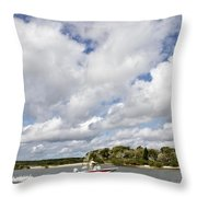 Speedy Red Boat Throw Pillow