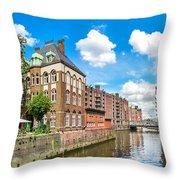 Speicherstadt Warehouse District In Hamburg Throw Pillow
