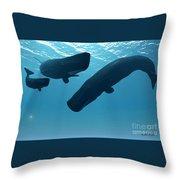 Sperm Whale Encounter Throw Pillow