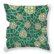 Spheres Cluster Green Throw Pillow