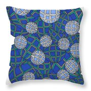 Spheres In Blue Throw Pillow