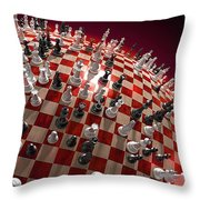 Spherical Chess Board World Throw Pillow