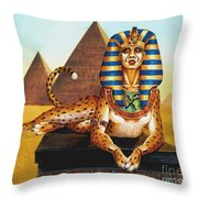 Sphinx On Plinth Throw Pillow