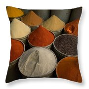 Spices For Sale In Souk, Fes, Morocco Throw Pillow