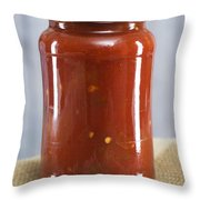 Spicy Salsa In Clear Glass Jar Throw Pillow