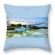 Spiddal Harbour Throw Pillow