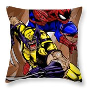 Spider And The Wolverine Throw Pillow