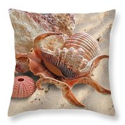 Spider Conch Shell On The Beach Throw Pillow