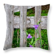 Spiderworts By The Gate Throw Pillow