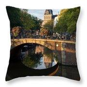 Spiegelgracht Canal In Amsterdam. Netherlands. Europe Throw Pillow