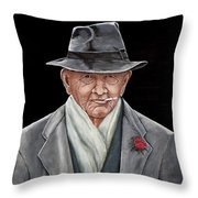 Spiffy Old Man Throw Pillow