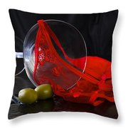 Spilled Martini With Red Panties Throw Pillow