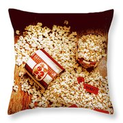 Spilt Tubs Of Popcorn And Movie Tickets Throw Pillow